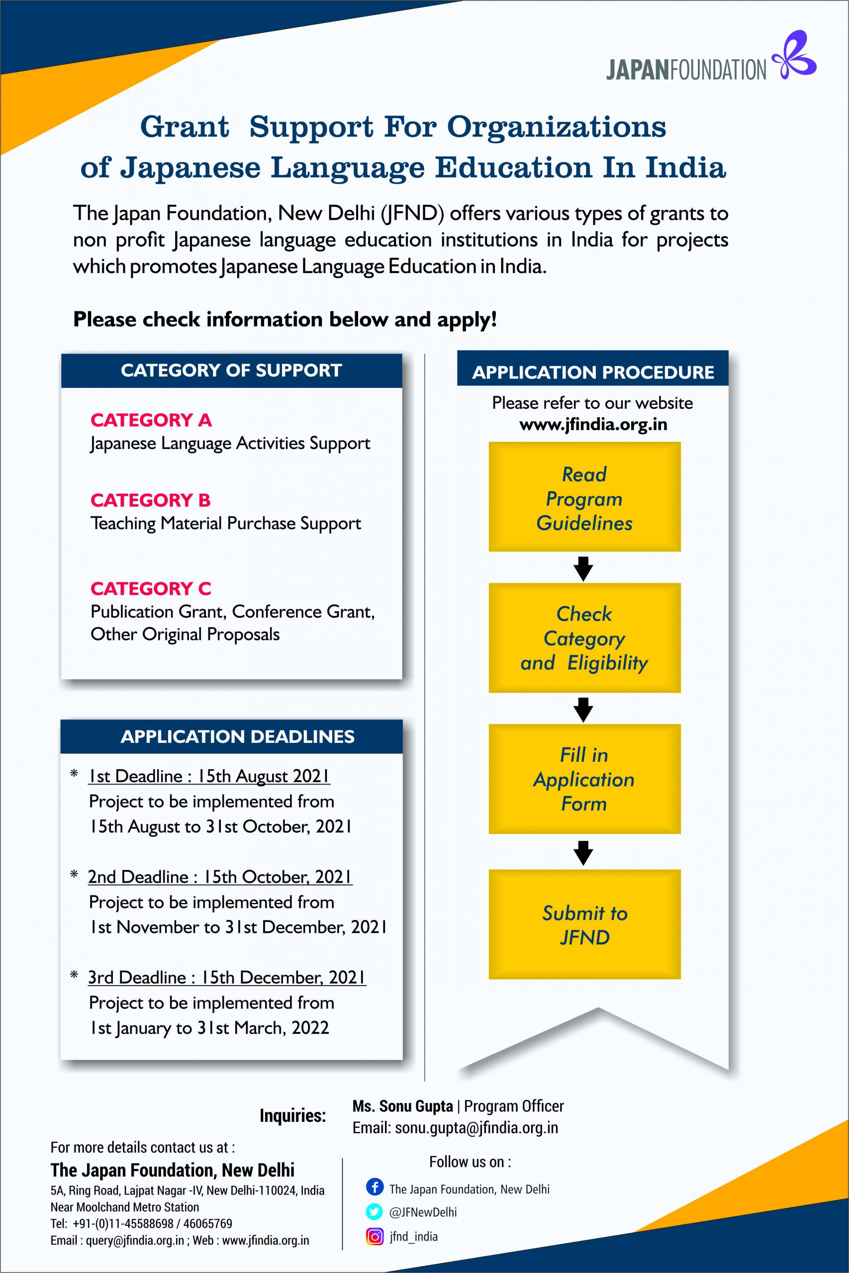 Call for Applications for Grant Support for Organizations of Japanese Language Education in India